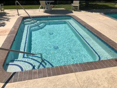 Step trim on steps and bench wrapped around entire pool